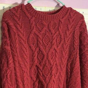 EDDIE BAUER woman's heavy sweater sz MM dark red